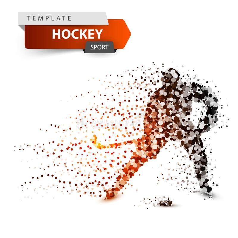 Hockey dot template. Stick and washer illustration. stock illustration
