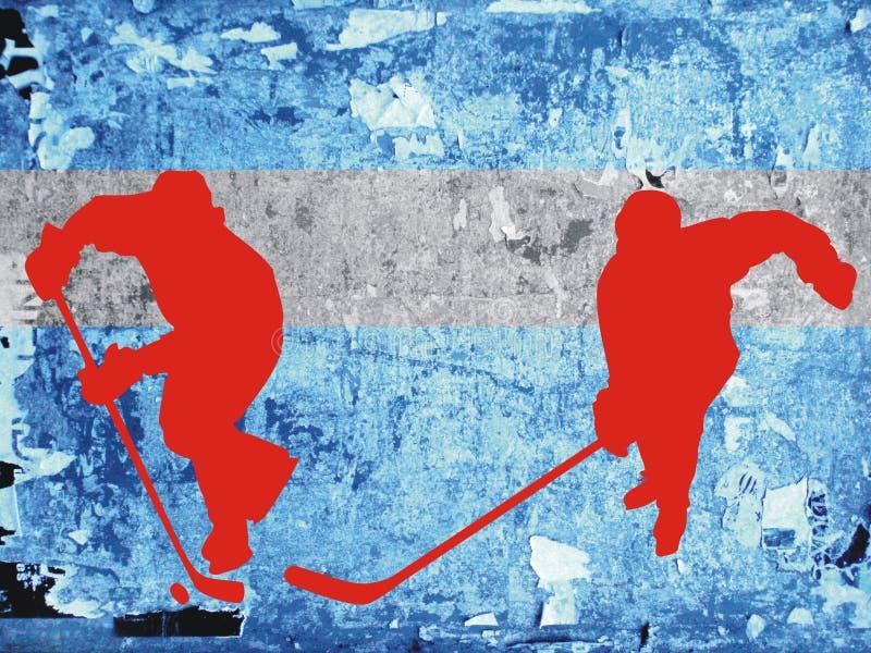 Hockey en jugadores del hielo stock de ilustración