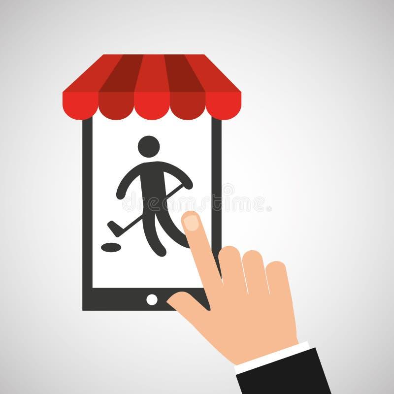 Hockey för mobiltelefonkontursportman royaltyfri illustrationer