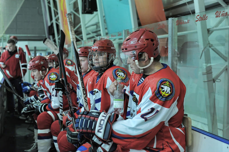 Hockey game. Match to celebrate the Day of the Marine Corps, Russia, St. Petersburg royalty free stock image