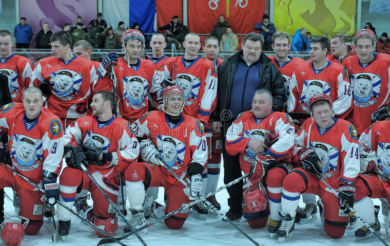 Hockey game. Match to celebrate the Day of the Marine Corps, Russia, St. Petersburg stock photography