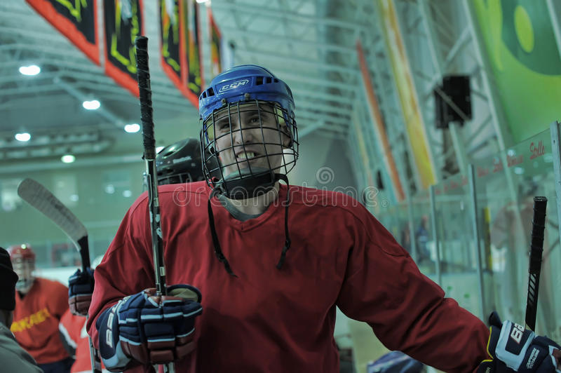Hockey game. Match to celebrate the Day of the Marine Corps, Russia, St. Petersburg royalty free stock photos