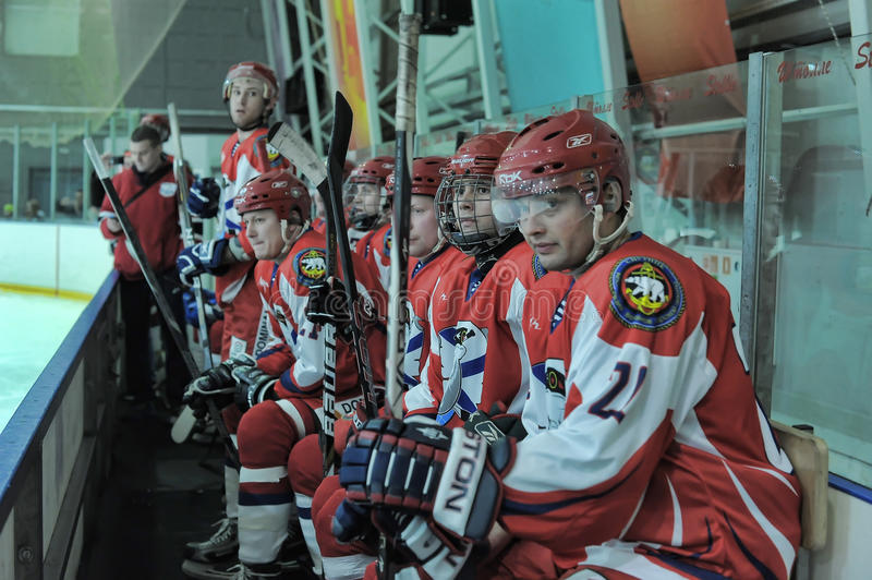 Hockey game. Match to celebrate the Day of the Marine Corps, Russia, St. Petersburg stock image