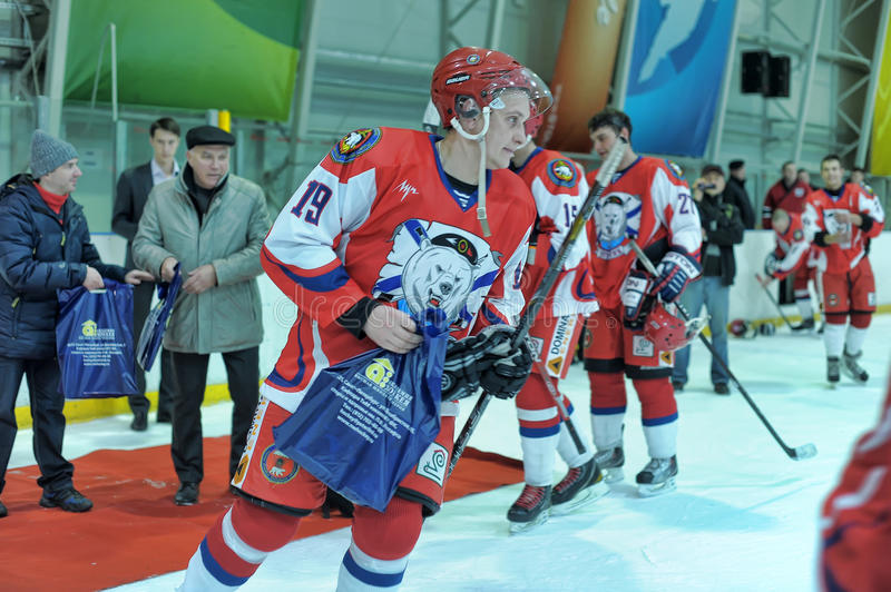 Hockey game. Match to celebrate the Day of the Marine Corps, Russia, St. Petersburg stock photo