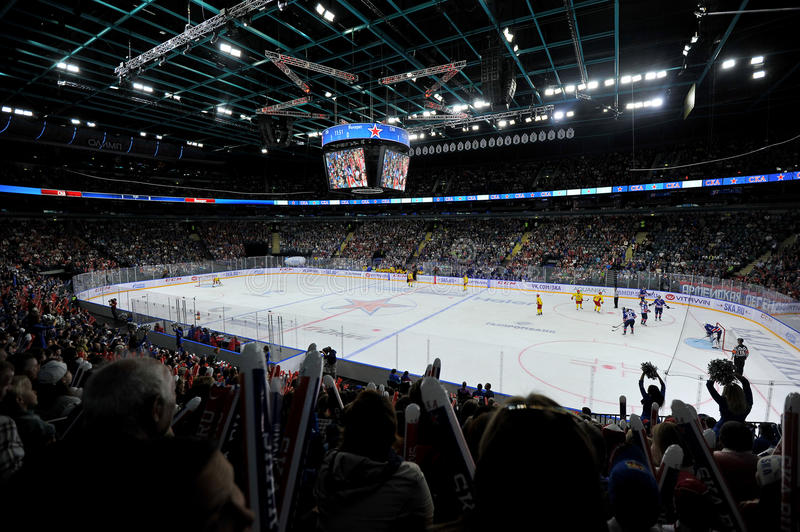 Hockey game. Between SKA and Jokerit at ice Palace in St. Petersburg stock photos