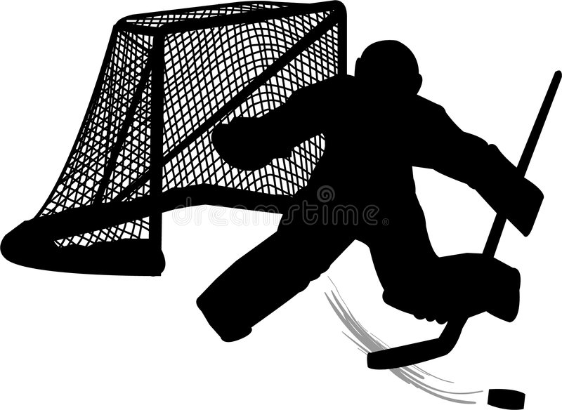 Hockey Goalie. Illustration of a hockey goalie in silhouette...matching hockey player also in my portfolio