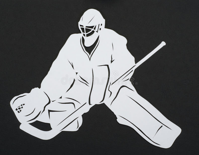 The hockey goalie. Cut out paper stock photo