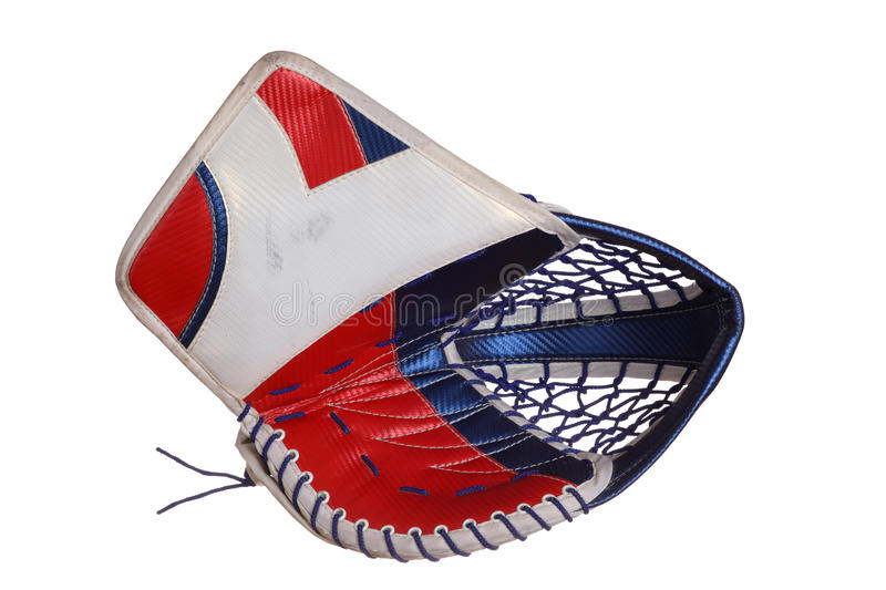 Hockey Goalie Catcher. Ice hockey goalie catch glove. Obverse part. White, blue and red colours. Isolated on white stock photos