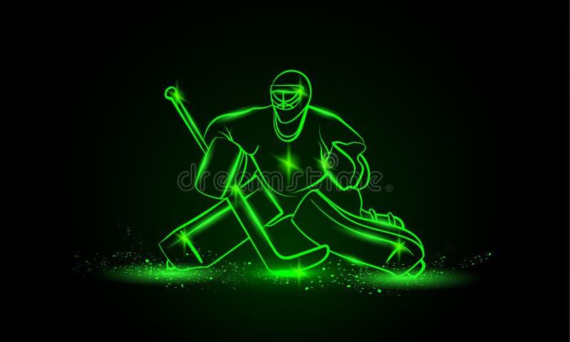 Hockey goalie, Vectorneonillustratie royalty-vrije illustratie