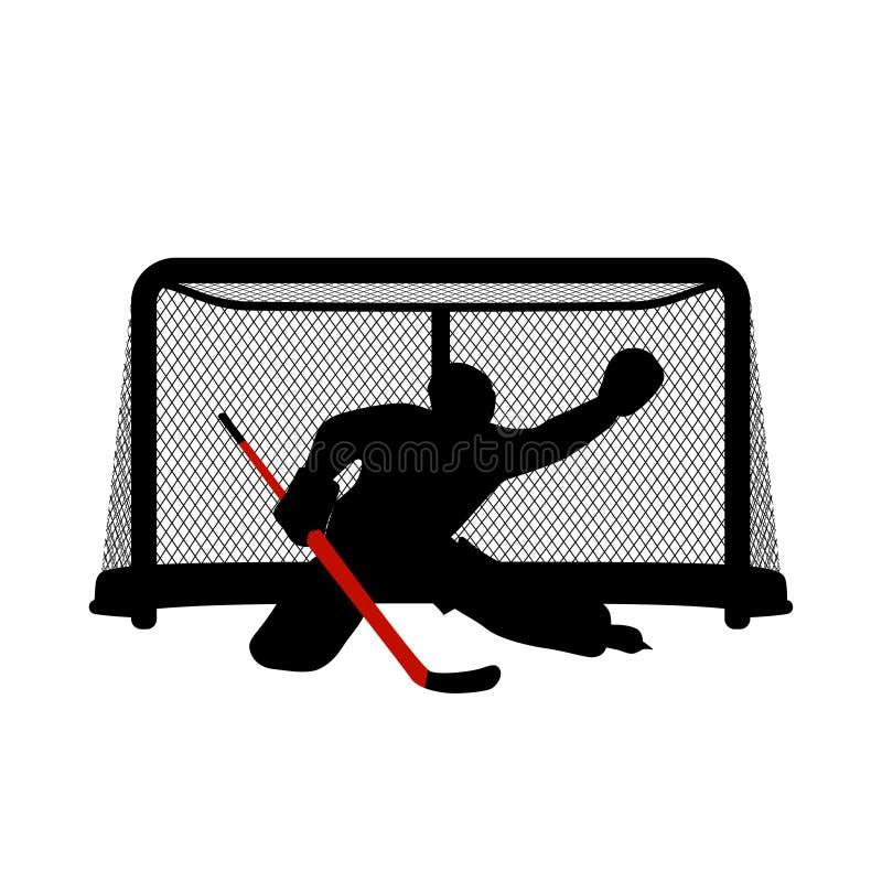 Hockey goalkeeper silhouette stock illustration