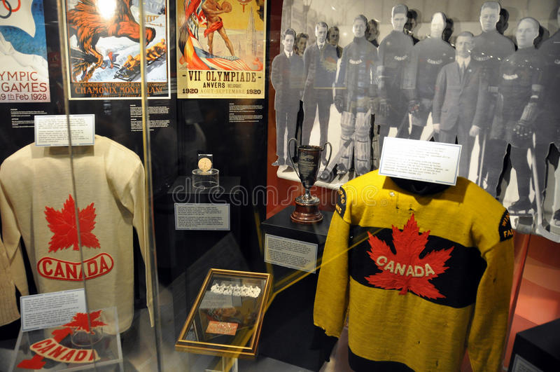 Hockey Hall of Fame sweaters. Vintage Team Canada sweaters from Canadian national ice hockey teams in the past. Very famous and iconic images of Canadian culture royalty free stock photos