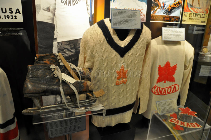 Hockey Hall of Fame sweaters. Vintage Team Canada sweaters from Canadian national ice hockey teams in the past. Very famous and iconic images of Canadian culture stock photography