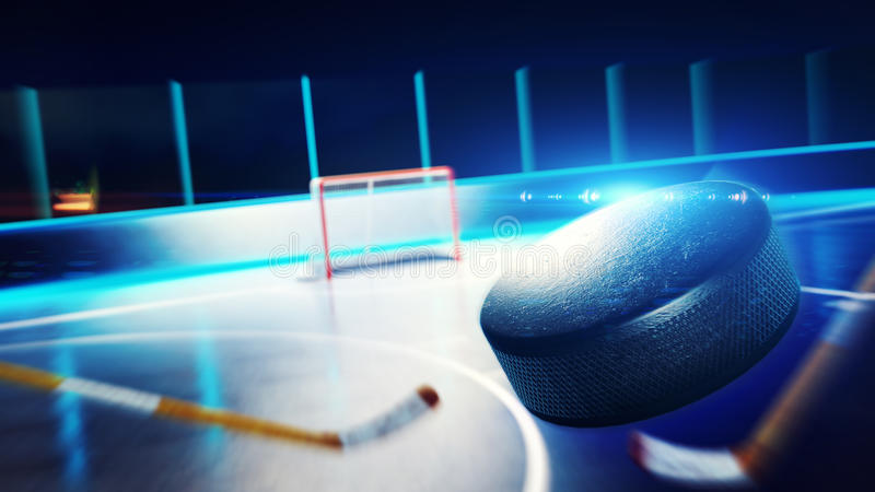 Hockey ice rink and goal stock illustration