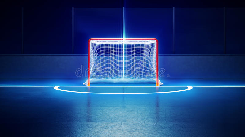 Hockey ice rink and goal. 3d rendered illustration of hockey ice rink and goal. Scratches on ice. Shining lines on ice stock illustration