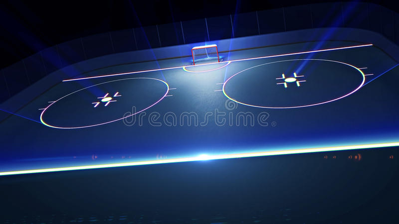 Hockey ice rink and goal royalty free illustration