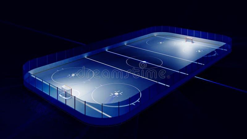 Hockey ice rink and goal stock illustration