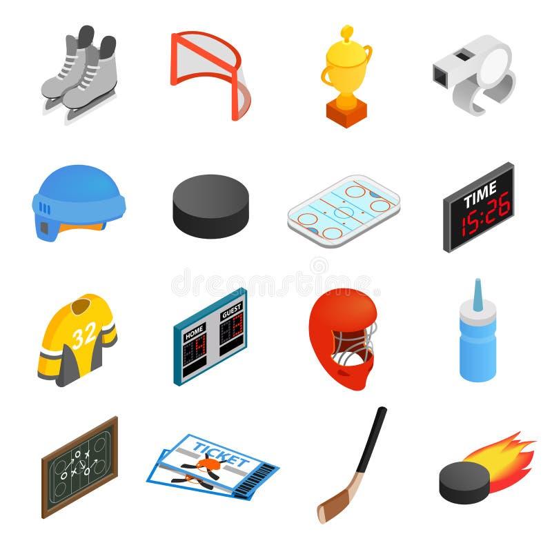 Hockey isometric 3d icons set vector illustration