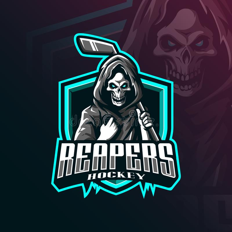 Free Hockey Mascot Logo Design Vector With Modern Illustration Concept Style For Badge, Emblem And Tshirt Printing. Reaper Hockey Royalty Free Stock Photos - 160081168