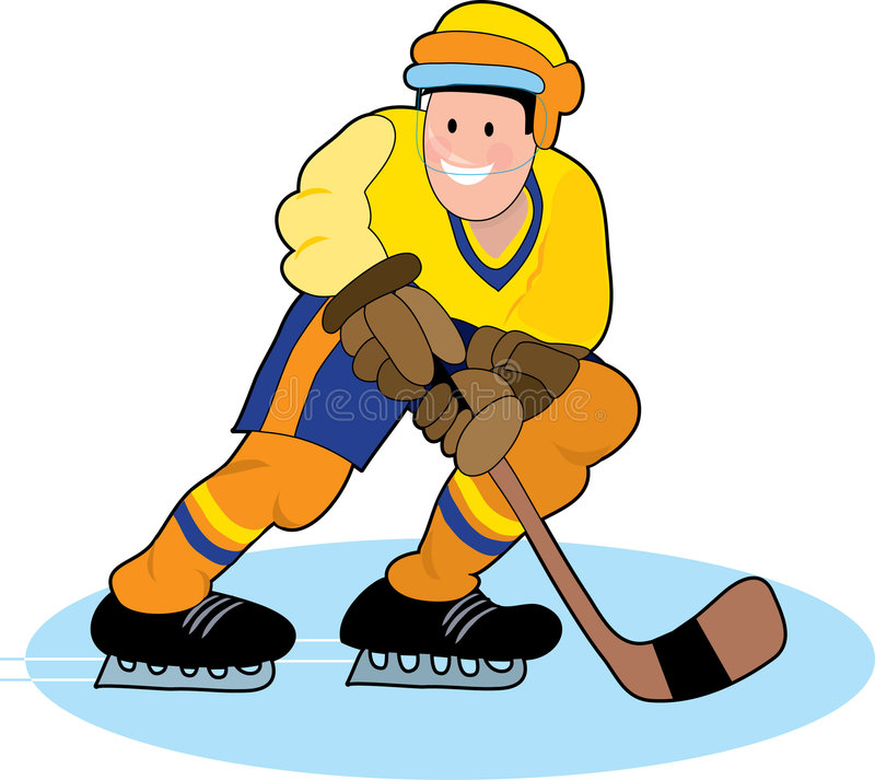 Hockey Player. With stick ready to take a shot royalty free illustration