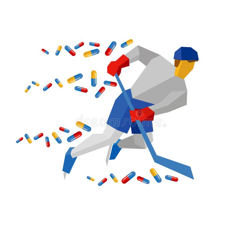 Hockey player in blue and red running on ice skates royalty free illustration
