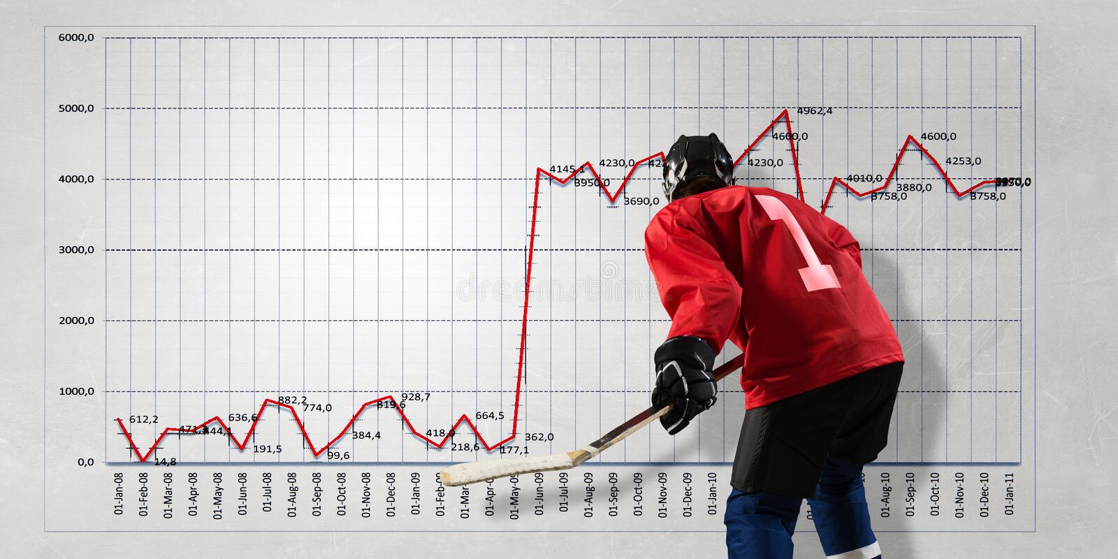 Hockey player and dynamics graph. Mixed media. Hockey game player and infographs at background. Mixed media royalty free stock images