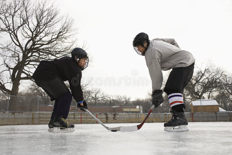 Hockey Player Face Off. Stock Photography