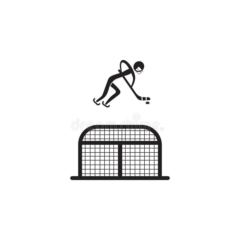 Hockey player in front of the gate icon. Element of figures of sportsman icon. Premium quality graphic design icon. Signs, symbols. Collection icon for websites vector illustration