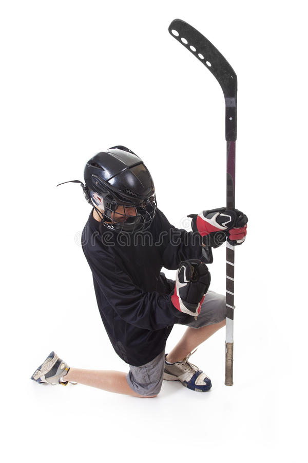 Hockey player over white background stock photos