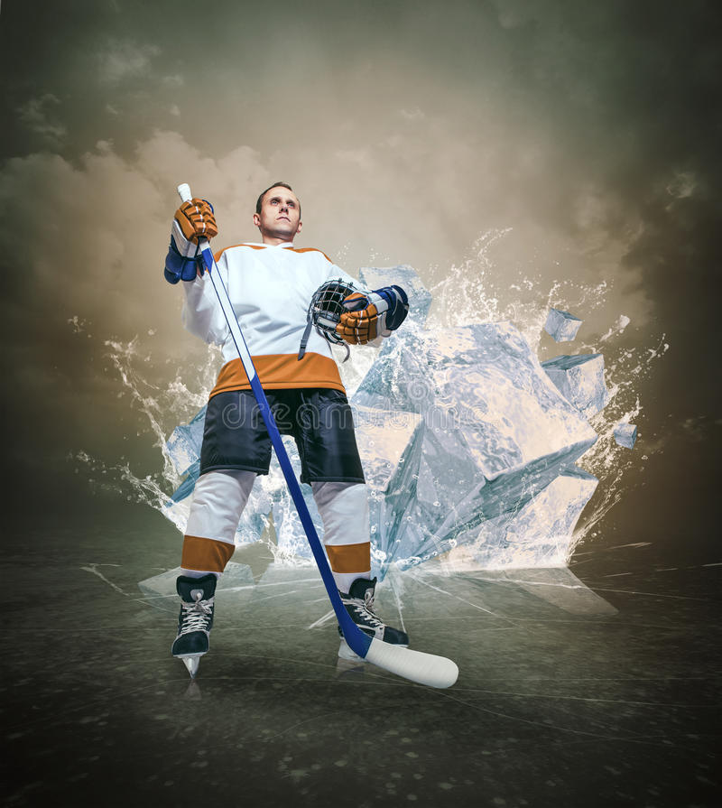 Hockey Player Portrait On Abstract Ice Background Stock