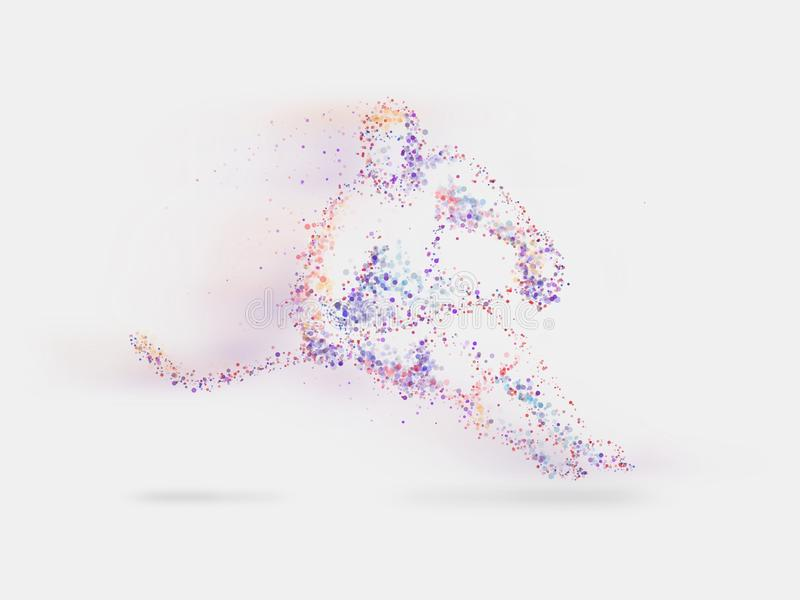 Hockey Player in purple lights - Ice fight - Championship Hockey - Hockey player Silhouette - Purple Color stock photography