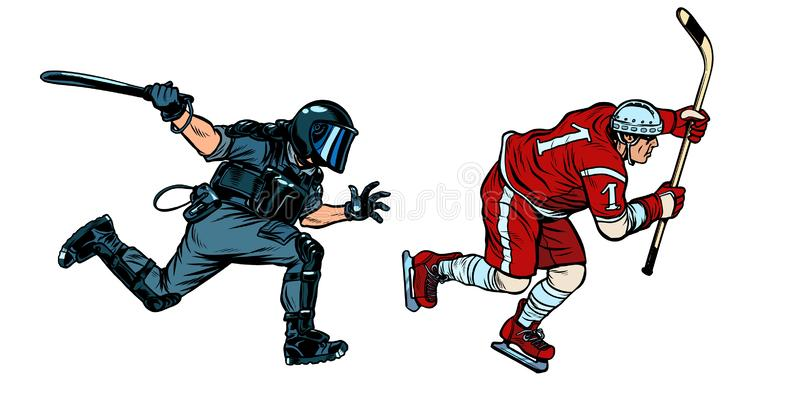 Hockey player. riot police with a baton. Pop art retro vector illustration drawing vector illustration