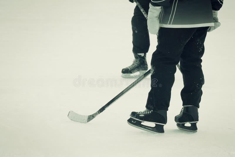 The hockey players stock photo