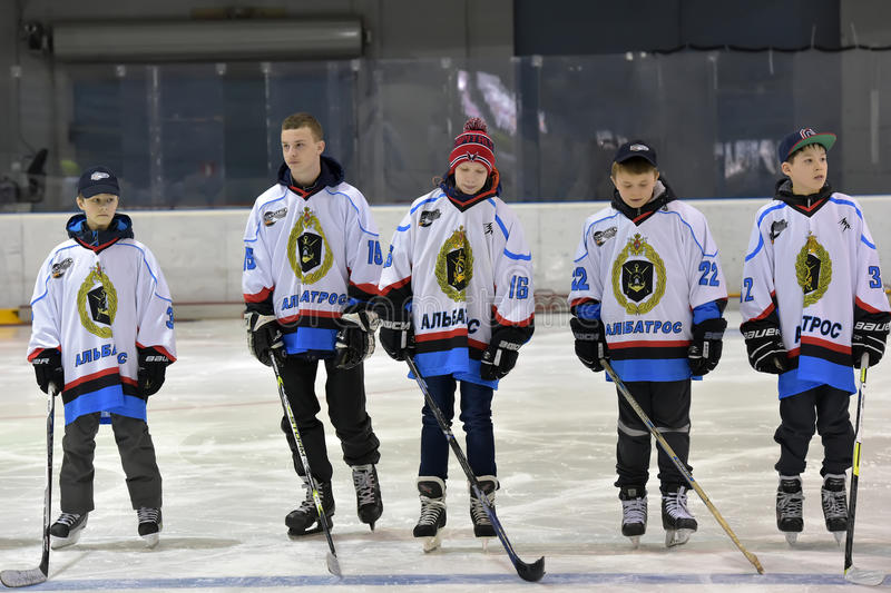 Hockey players before the match, stock images