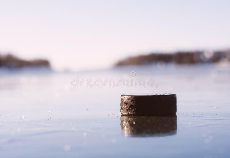 Hockey Puck Frozen Lake royaltyfri foto