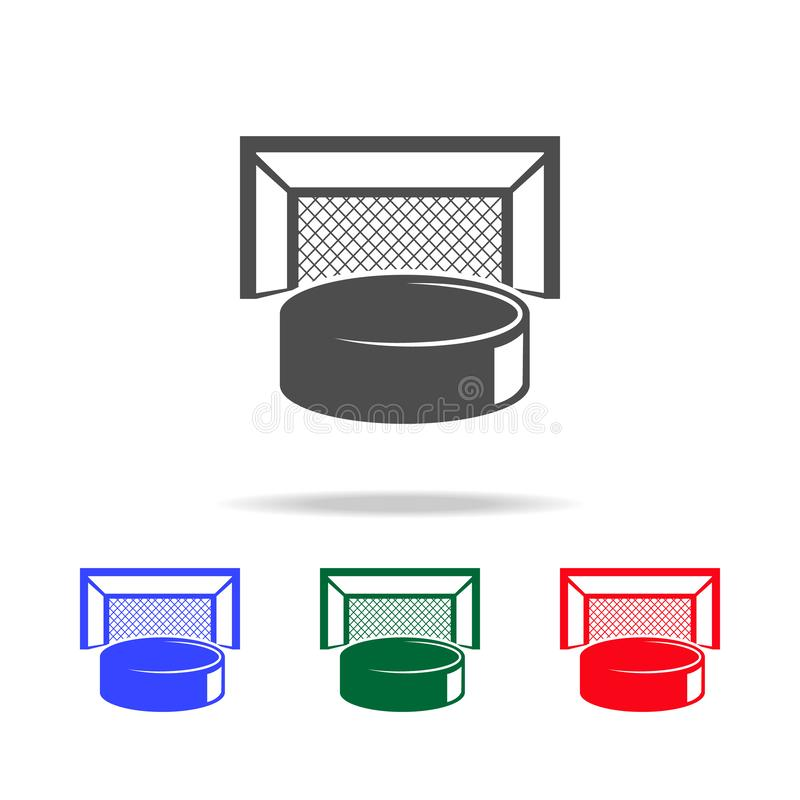 Hockey puck and gates icons. Elements of sport element in multi colored icons. Premium quality graphic design icon. Simple icon stock illustration