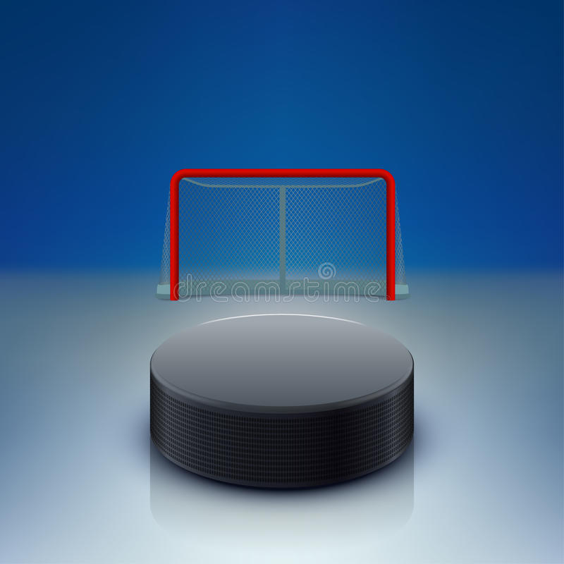 Hockey puck and gates vector illustration