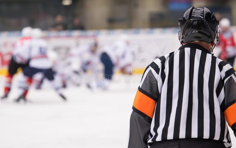 Hockey referee on ice. Hockey referee on the ice watching the game royalty free stock photo