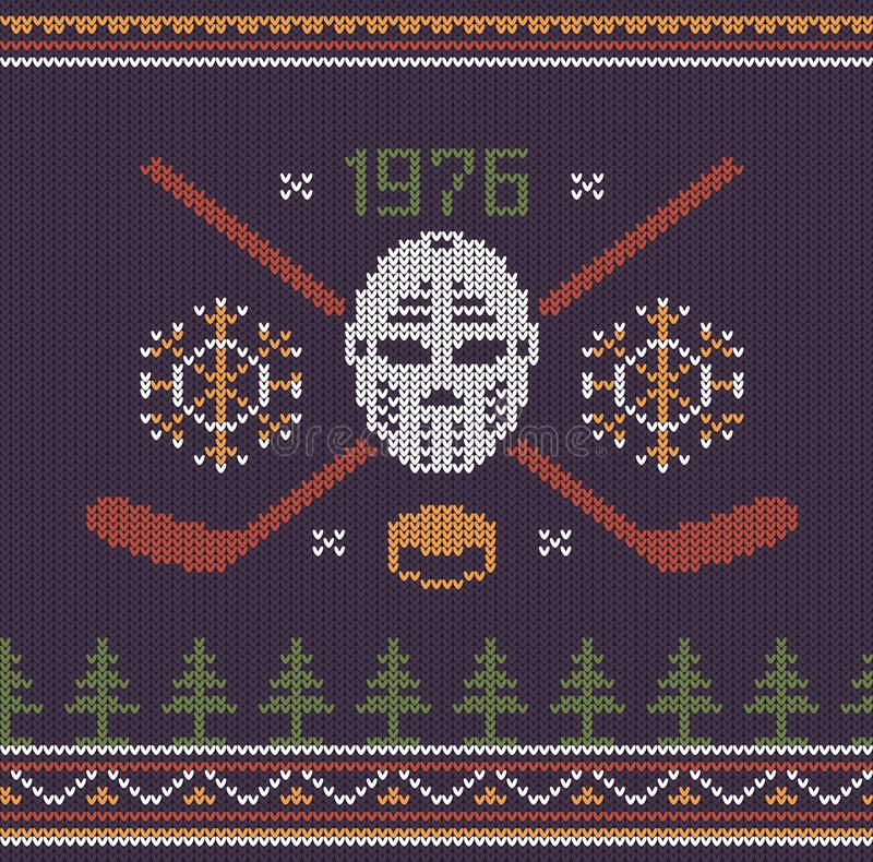 Hockey retro logo knitted vector illustration