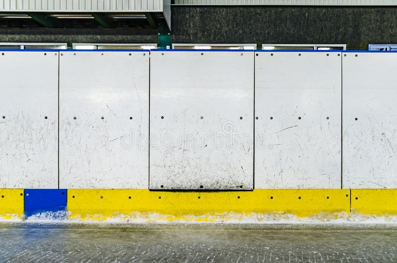 Hockey rink side boards with door royalty free stock photo