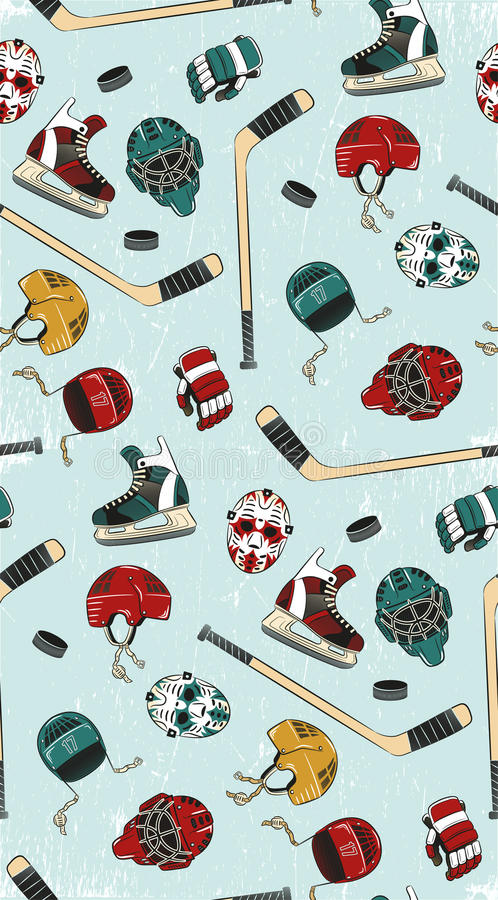 Hockey seamless pattern vector illustration