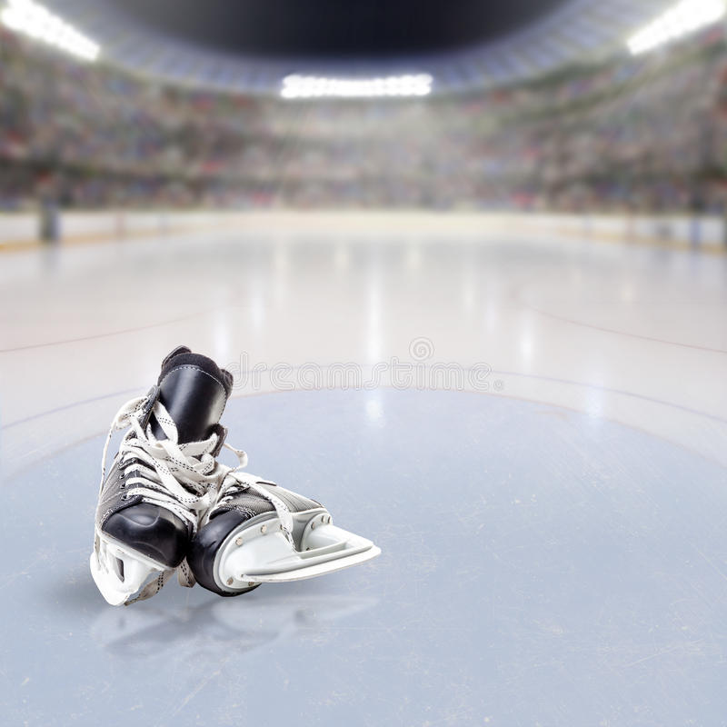 Hockey Skates on Ice of Crowded Arena vector illustration