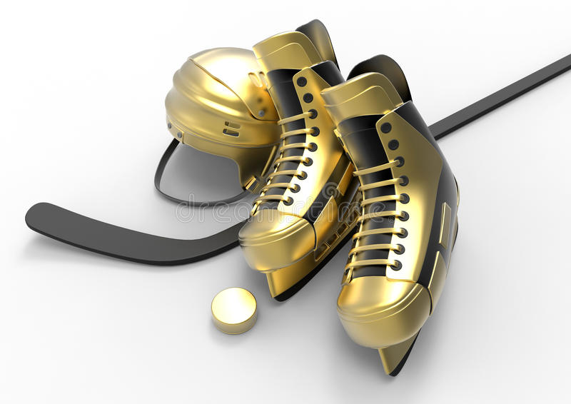 Hockey skates and stick. 3D rendered illustration of a pair of ice skates and a stick used in hockey. The composition is on a white background with shadows vector illustration