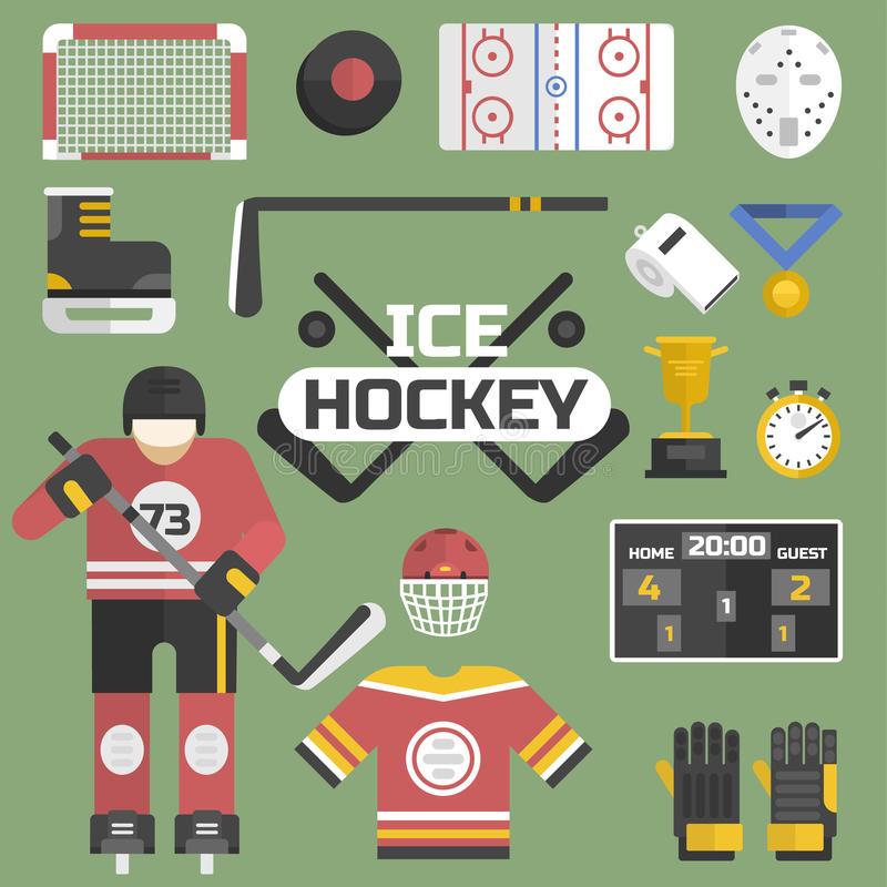 Hockey sport icons equipment and player design vector illustration. vector illustration