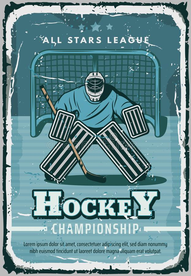 Vector retro poster for hockey sport royalty free illustration