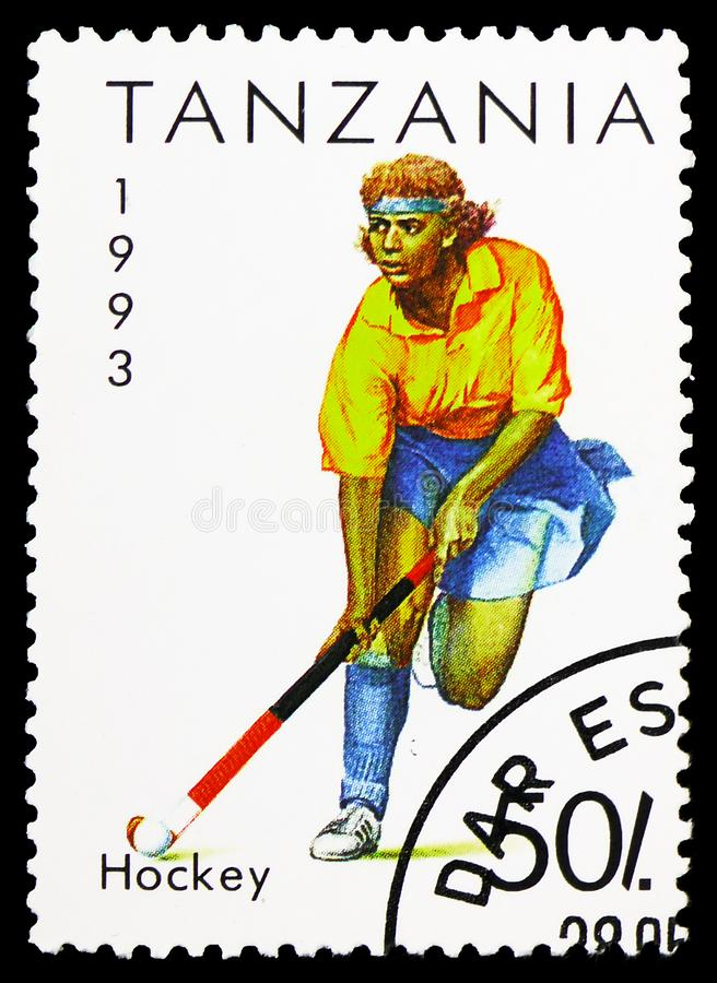 Hockey, Sport serie, circa 1993. MOSCOW, RUSSIA - FEBRUARY 10, 2019: A stamp printed in Tanzania shows Hockey, Sport serie, circa 1993 royalty free stock photos