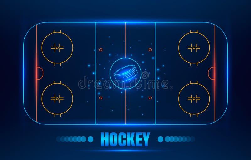 Hockey stadium on top. Ice Hockey stadium. Vector line illustration hockey arena with puck. Hockey background with glowing elements royalty free illustration
