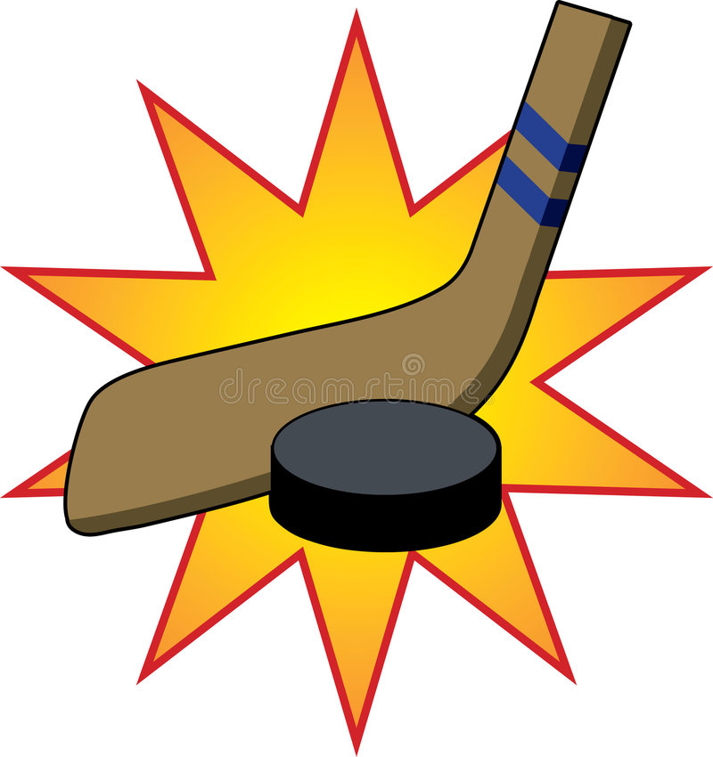 Hockey Stick & Puck. Hockey stick hitting puck with impact star vector illustration