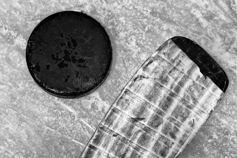 Hockey Stick And Puck Stock Photography