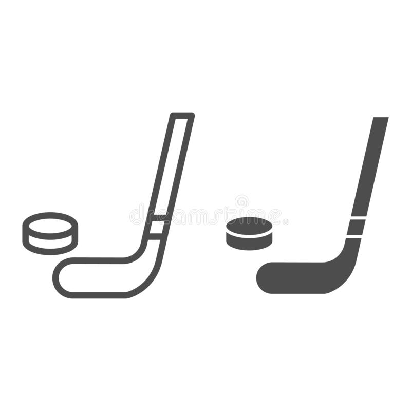 Hockey stick and puck line and glyph icon. Hockey stick and washer vector illustration isolated on white. Sport. Equipment outline style design, designed for royalty free illustration