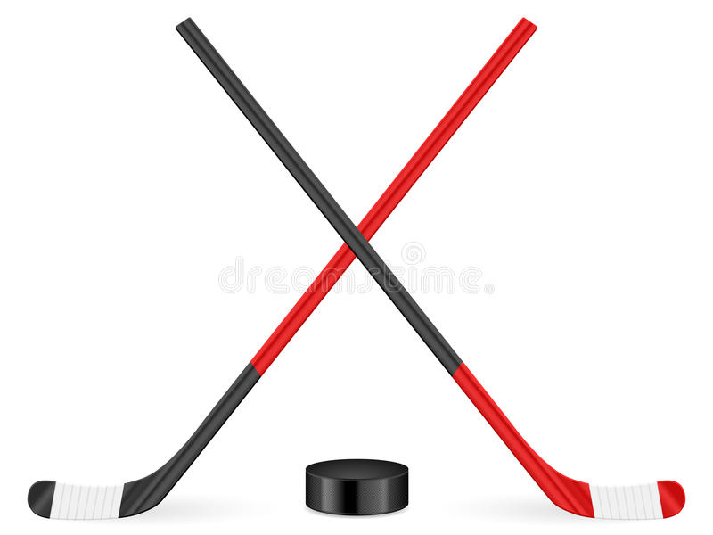 Hockey stick and puck vector illustration
